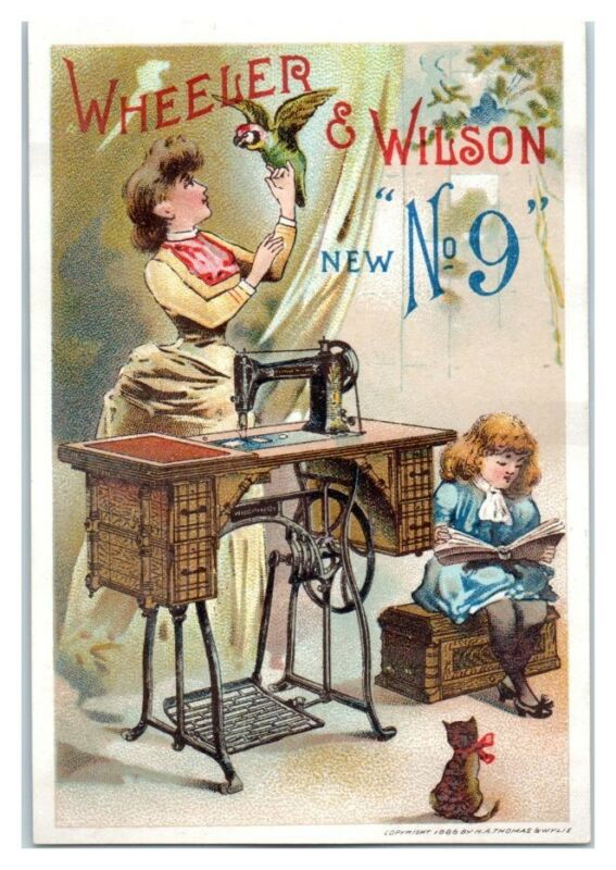 Wheeler & Wilson No. 19 Sewing Machine Mother and Parrot Victorian Trade Card