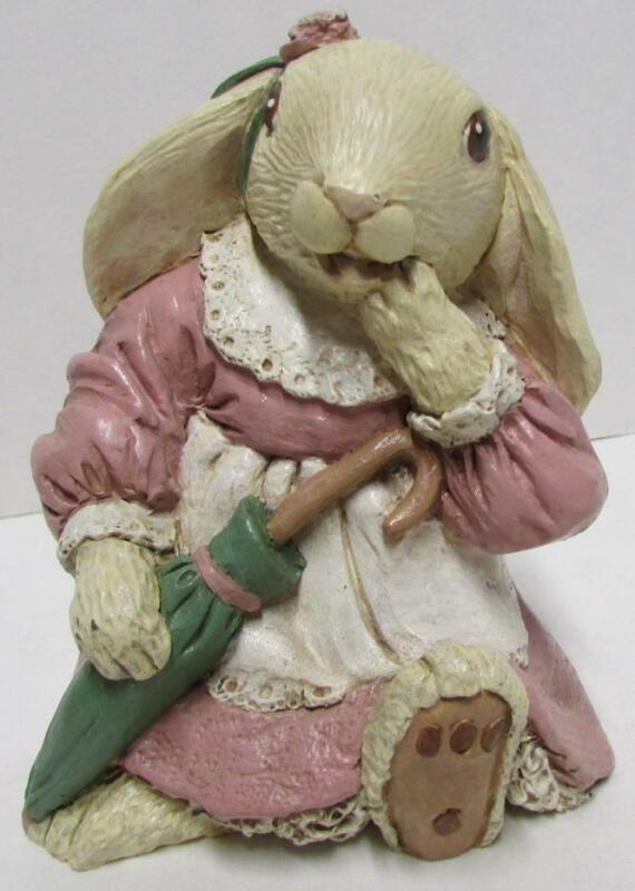 Rabbit figurine  TNT 658 @ 4 inches tall Clay Resin like material Vintage #2214