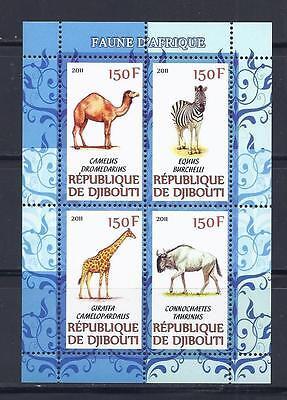 X509 MINT NH 2011 SHEET OF 4 WILD ANIMAL GIRAFFE ZEBRA CAMEL SOUVENIR SHEET