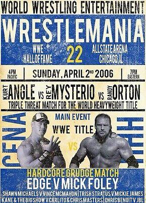 Wrestlemania 22 2016 John Cena Triple H Retro Wrestling Poster A4 8x11 WWF