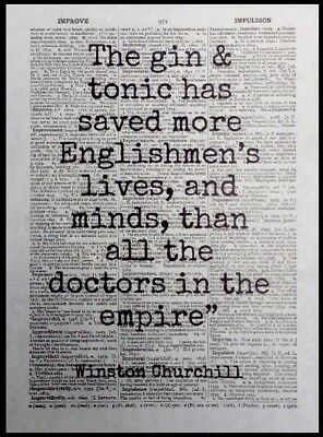 - Gin Winston Churchill Quote Vintage Dictionary Page Print Picture Wall Art Tonic