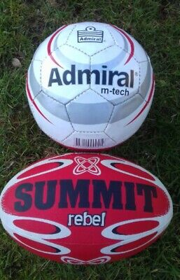 SET OF  FOOTBALL AND RUGBY BALL  TRAINING BALLS   SUMMIT ADMIRAL INFLATED