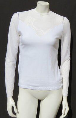 GARNET HILL White Cotton Jersey Knit Sheer Mesh Long Sleeve Tee Shirt Top XS S - Sheer Jersey Long Sleeve Tee