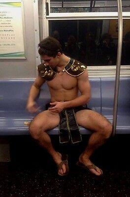 Shirtless Male Muscular Frat Boy Jock Gladiator Halloween Outfit PHOTO 4X6 - Halloween Jocks
