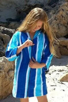 Back Beach CoDames Badjas Blue Stripe