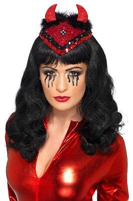 Ladies Red Devil Hat Skull Cap Sexy Sequin Horns Burlesque Demon Dance Party New (Red Skull Kostüm)