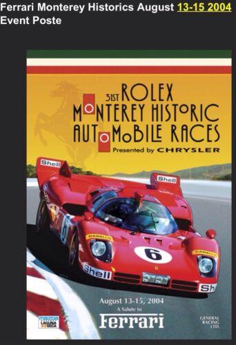 Ferrari Monterey Historics August 13-15 2004 Event Poster GREAT PRICE!Car Poster