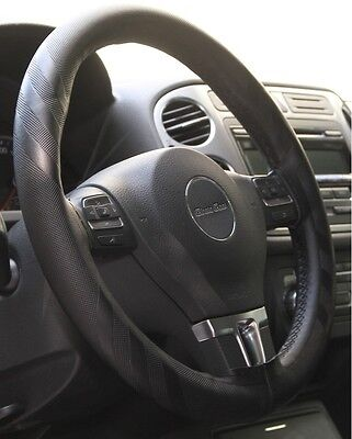Stitch On Style PVC Leather Steering Wheel Skin Wrap Cover Black Best Fit &