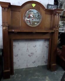 HUGE Vintage Fireplace Fire Surround with Mirror in Teak - Uk Delivery