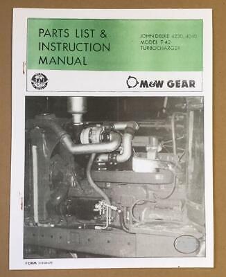 Mw John Deere Tractor 4230 4040 Model T42 Turbocharger Turbo Manual