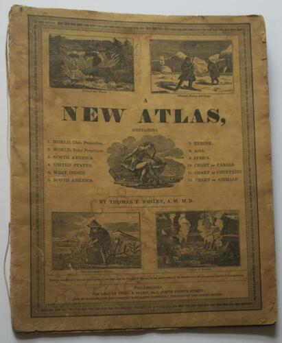 RARE 1834 SMILEY,New Atlas,HAND-COLORED TANNER MAPS,World,U.S.,No America,Indies