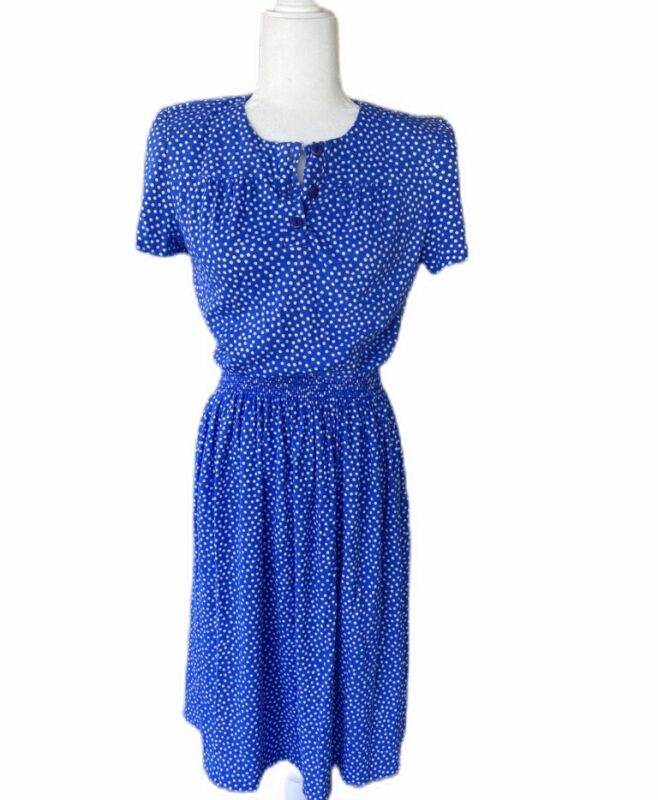 Women's Vtg Polka Dot NOS NWT Dress Midi Small Medium Blue Short Sleeve 80's