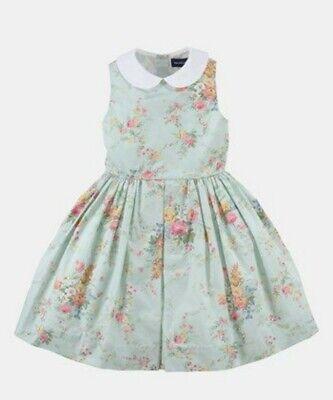 Ralph Lauren Girls Light Green Floral Spring Button Back Dress Size 5
