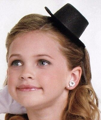 Mini Felt Top Hats (Lot of 24 Black Felt Mini Topper Dance Theatrical Top Hats w/fastner Tiny)
