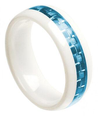 White Ceramic Ring Men Women Wedding Band With Aquamarine Carbon Fiber Inlay 8Mm