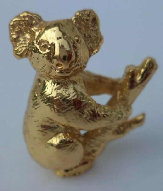 """1 1/4"""" AUSTRALIAN 22K GOLD PLATED PEWTER KOALA BEAR IN TREE MINIATURE FIGURINE"""