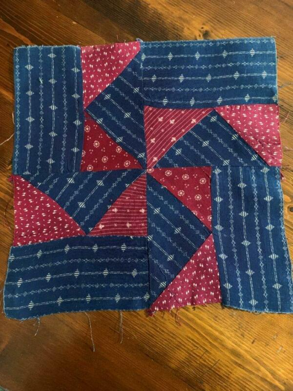 Antique Fabric Quilt Block Pinwheel Indigo Blue Geometrics Cranberry Red  12x12