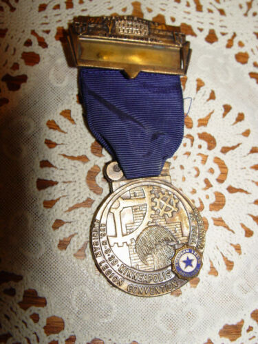 1939 American Legion 21st National Convention: official Medal Badge Ribbon Mpls