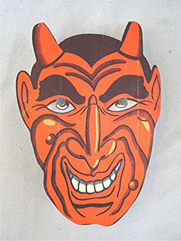 Vintage Paper Mask -- Devil