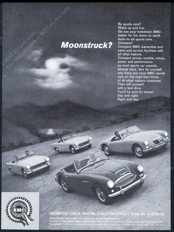 1962 MG Midget Austin Healey 3000 Sprite MGA 1600 4 car photo Moonstruck ad