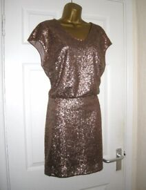 BNWT Gold sequin plunge back mini dress