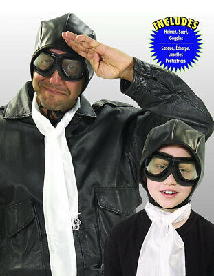 New AVIATOR Accessory Kit Costume One Size Halloween Child Adult Helmet Goggles