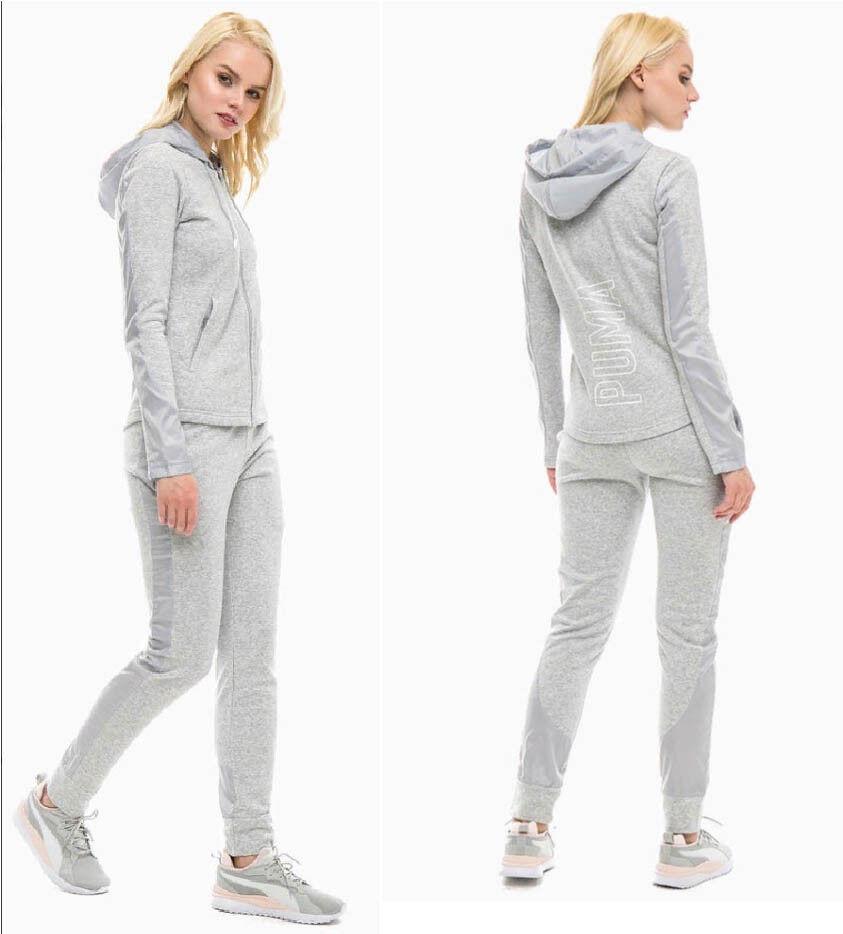 Details zu PUMA Damen Hoody Trainingsanzug Jogginganzug Baumwolle Graphic Sweat Suit grau