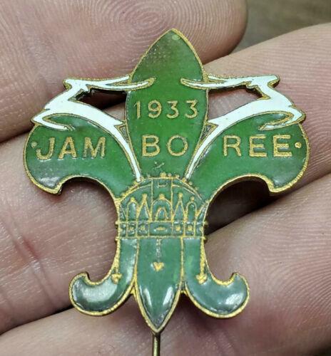 Rare OLD 1933 BOY SCOUTS Green ENAMEL White Jumping Deer JAMBOREE PIN