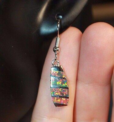 1 PAIR fire opal earrings gemstone silver jewelry modern cocktail drop/dangle G2