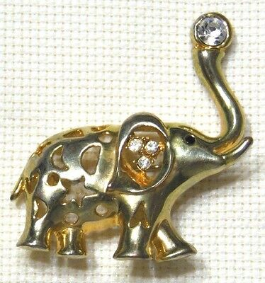 """VINTAGE GOLD TONE CLEAR CRYSTAL """"GOOD LUCK"""" TRUNK UP ELEPHANT PIN BROOCH"""