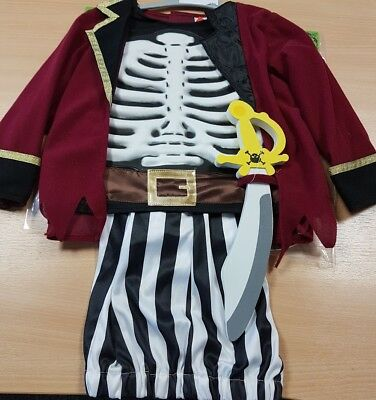 Halloween Costumes Skeleton Pirate (Children's Pirate Skeleton Fancy Dress Costume Halloween Dressing Up Aged)