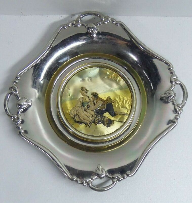 VINTAGE SILVER & SILVER PLATE CHINELLI ITALY GOLD PLATE  INLAY PICTURE DISH