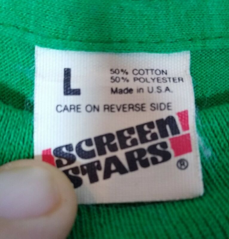 Vintage 80s SCREEN STAR New Blank T-Shirt  L Green 50/50 Single Stitch See Desc.