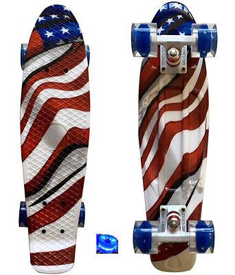 LMAI 22'' Cruiser Skateboard Graphic US Flag Board Penny Style&White Trucks