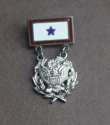 Antique Sterling Vintage One Blue Star Service Family Member Flag Military Pin