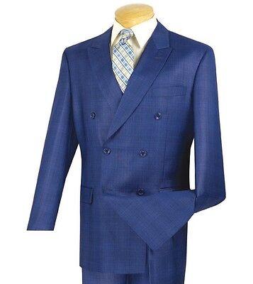 Vinci Men's Blue Glen Plaid Double Breasted 6 Button Classic Fit Suit NEW](Mens Blue Suit)