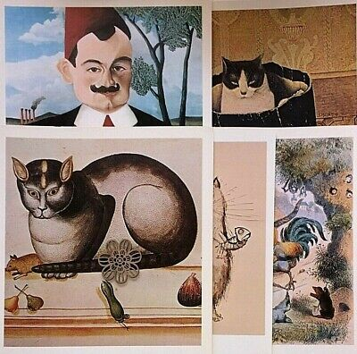 Famous Art Reproductions - VTG 1976 Cat Art Print Lot SET 5x Famous Paintings & Illustrations
