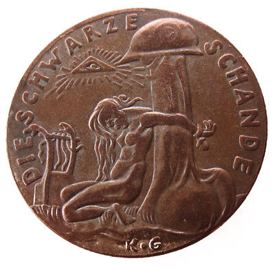 #2 of 2. Restrike Of The 1920 Watch On The Rhine/Black Shame Medal By Karl Goetz