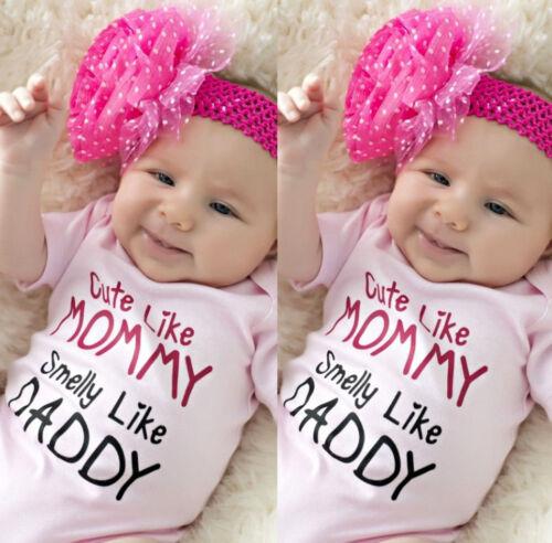 Newborn Infant Baby Girls Romper Bodysuit Jumpsuit Outfits Sunsuit Clothes A