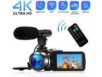 4K Camcorder Digital Video Camera WiFi Vlogging Camera Camcorders with Microphone