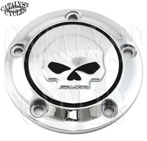 Chrome Skull Ignition Timing Cover for Harley Twin Cam Points Cover