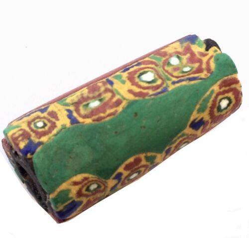 Venetian Antique Green Brick Red and Yellow Millefiori Glass African Trade beads