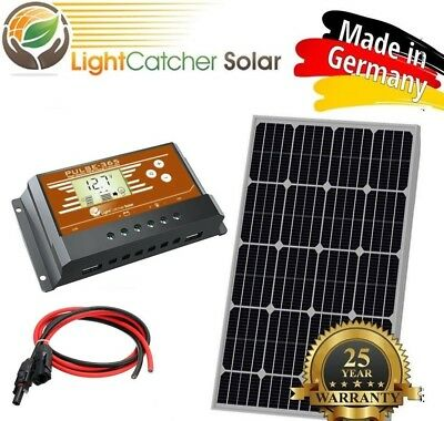 100 Watt Mono Solar Panel Kit with Charge Controller & Wire Kit Monocrystalline