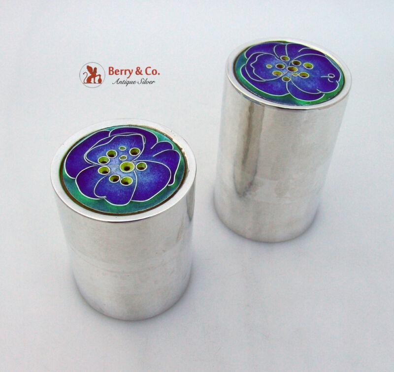 Floral Enamel Salt And Pepper Shakers Sterling Silver ONC 1970