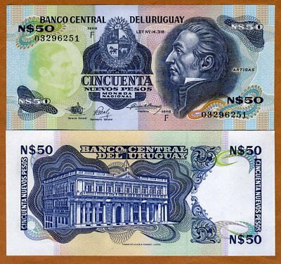 Used, Uruguay, 50 Nuevo Pesos, ND (1988), P-61A, Serie F, UNC for sale  USA