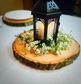 x16 Rustic Wooden table logs/slices/rings..Perfect for winter wedding reception centrepieces
