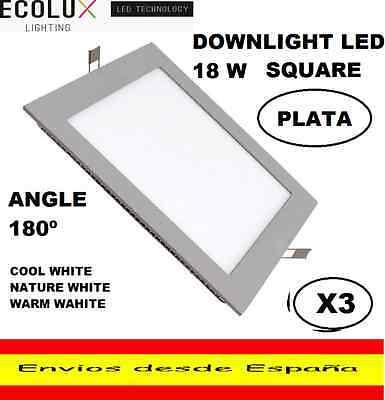 3 DOWNLIGHT LED 18W CUADRADO EMPOTRABLE EXTRAPLANO,BLANCO FRIO,NATURE O CALIDO.