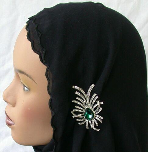 Crystal Fashion Hijab Pin Abaya Emerald Hijab Pin Green color Lapel Pin