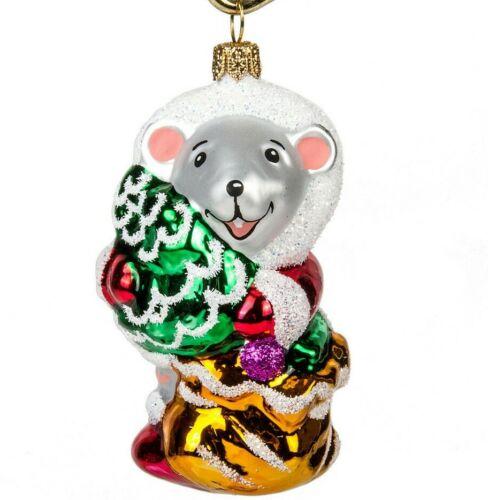 "3"" Mouse Christmas Glass Ornament Mice Figurine Symbol 2020 HAND BLOWN Yolochka"