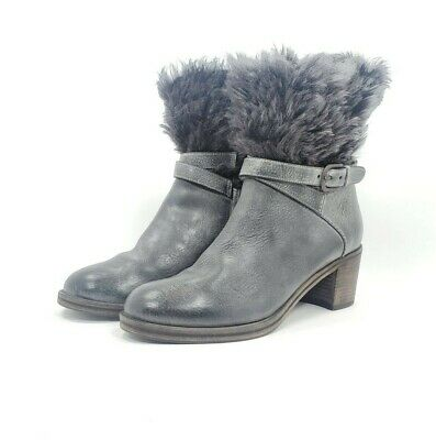 HENRY BEGUELIN Boot Leather Furr Zip Up Heeled Boot Womens Size 38 8